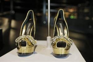 The shoes from Beyonce's Sweet Dreams are displayed in a new exhibit at the Rock and Roll Hall of Fame in Cleveland.