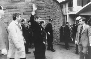 In this March 30, 1981 file photo shows President Ronald Reagan just before being shot outside the Washington Hilton.