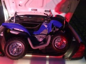 This Sunday, Aug. 3, 2014 photo provided by the Westchester County police in White Plains, NY, shows the toy ATV used by a 6-year-old boy to drive onto the Bronx River Parkway.