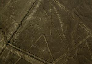 A figure known as the spider is seen center left in the zone known as the Nazca lines in Peru's coastal Nazca Desert.