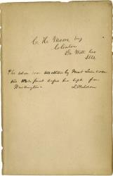 This undated photo shows what historical experts say is Abraham Lincoln's handwriting found inside a tattered book justifying racism.