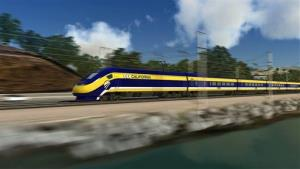 This undated file photo provided by the California High Speed Rail Authority shows an artist's rendering of a high-speed train traveling along the California coast.