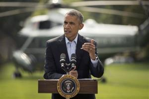 President Obama speaks on the South Lawn of the White House Saturday.