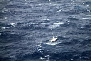 This Aug. 10, 2014, photo provided by the US Coast Guard shows the 42-foot sailboat Walkabout caught in Hurricane Julio, about 400 miles northeast of Oahu, Hawaii.