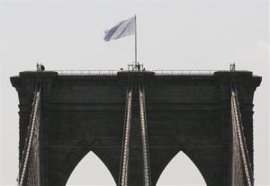 One of the white flags on the Brooklyn Bridge, July 22, 2014.