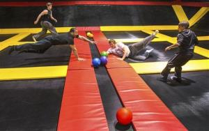Visitors to the Stratosphere Trampoline Park play dodgeball in the one of the park's two dodgeball arenas in Wilmington, Del., Sunday, March 30, 2014.