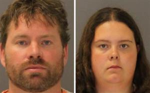 These images provided by the St. Lawrence County Sheriff's Office show the booking photos of Stephen Howells and Nicole Vaisey.