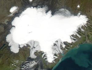 An aerial view of the glacier-filled crater.