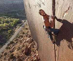 In this May 2013 photo provided by Jerry Dodrill, Brad Parker climbs Super Crack, a rock climb at Indian Creek, near Moab, Utah. Parker, a veteran Northern California rock climber, died Saturday, Aug. 16, 2014, in a fall in Yosemite National Park just hours after proposing to his girlfriend during...