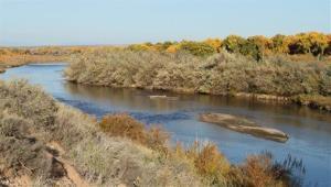 The 2011 image shows the Rio Grande flowing near Albuquerque, NM.