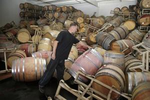 Cellar worker Daniel Nelson looks over toppled barrels of Cabernet Sauvignon following an earthquake at the BR Cohn Winery barrel storage facility Sunday, Aug. 24, 2014, in Napa, Calif.