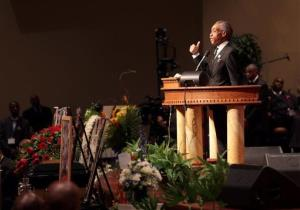 The Rev. Al Sharpton speaks on Monday, Aug. 25, 2014, at the funeral for Michael Brown at Friendly Temple Missionary Baptist Church in St. Louis.