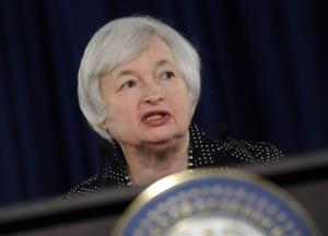 In this June 18, 2014, file photo, Federal Reserve Chair Janet Yellen speaks during a news conference at the Federal Reserve in Washington.