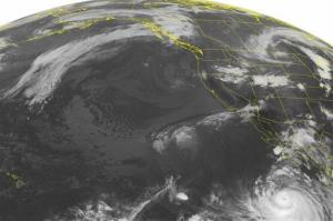 This NOAA satellite image shows Hurricane Marie about 500 miles southwest of the Baja Peninsula.