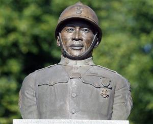 A statue of Henry Johnson is displayed in the Arbor Hill neighborhood in Albany.