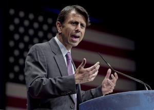 In this Feb. 11, 2012, file photo, Republican Gov. Bobby Jindal of Louisiana addresses activists.