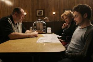 This photo provided by HBO shows, from left, James Gandolfini as Tony Soprano, Edie Falco as Carmela and Robert Iler as Anthony Jr. in a scene from the finale.