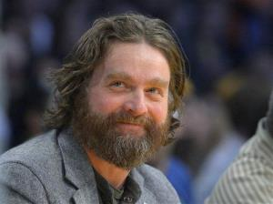 In this Feb. 28, 2013, file photo, actor Zach Galifianakis watches the Los Angeles Lakers play the Minnesota Timberwolves.
