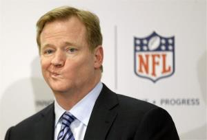 In this 2013 file photo, NFL Commissioner Roger Goodell takes questions.