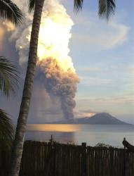 Smoke billows from Mount Tavurvur after an eruption in east New Britain, Papua New Guinea.