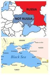 This combination image shows a map tweeted by the Canadian Joint Delegation to NATO on Aug. 27, 2014, top, and a map tweeted in response Aug. 28 by the Permanent Mission of Russia to NATO, below.