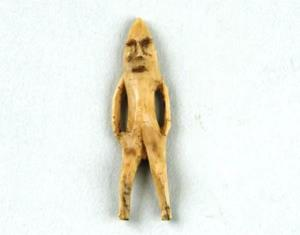 An ivory figurine thought to be associated with the Dorset people.