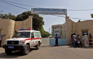 A ambulance leaves the University Hospital Fann, were a man is being treated for symptoms of the Ebola virus in Dakar, Senegal,  Friday, Aug. 29, 2014.