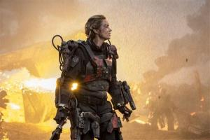 This photo released by Warner Bros. Pictures shows Emily Blunt as Rita in a scene from 'Edge of Tomorrow.' The Tom Cruise flick didn't do as well as expected.