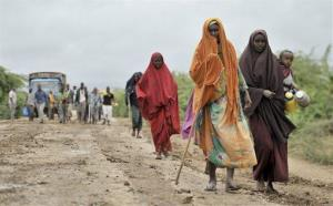 Civilians who had left the town of Bulomarer when it was held by al-Shabab militants return following the town's capture by African Union and Somali government soldiers.