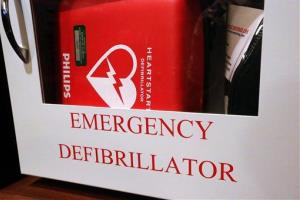 In this Tuesday, July 1, 2014 photo, an emergency defibrillator hangs on the wall at the Illinois State Capitol Tuesday, July 1, 2014, in Springfield, Ill.
