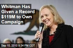 Whitman Has Given a Record $119M to Own Campaign