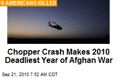 Chopper Crash Makes 2010 Deadliest Year of Afghan War