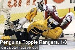 Penguins Topple Rangers, 1-0