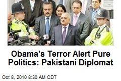 Obama's Terror Alert Pure Politics: Pakistani Diplomat