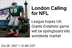 London Calling for NFL