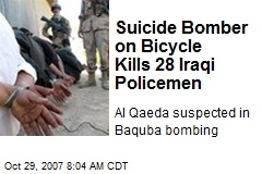 Suicide Bomber on Bicycle Kills 28 Iraqi Policemen