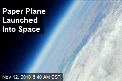 Paper Plane Launched Into Space