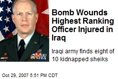 Bomb Wounds Highest Ranking Officer Injured in Iraq