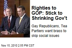 Righties to GOP: Stick to Shrinking Gov't