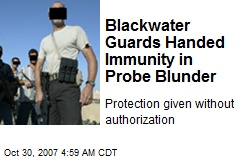 Blackwater Guards Handed Immunity in Probe Blunder