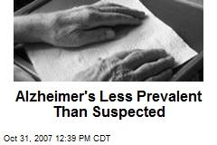 Alzheimer's Less Prevalent Than Suspected