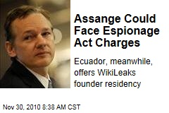 Assange Could Face Espionage Act Charges