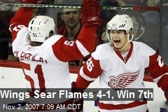 Wings Sear Flames 4-1, Win 7th