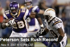 Peterson Sets Rush Record