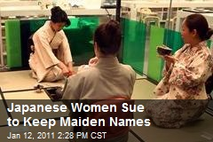 Women Sue Jap. Gov. Over Name Change Mandate
