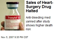 Sales of Heart-Surgery Drug Halted