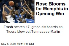 Rose Blooms for Memphis in Opening Win