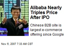 Alibaba Nearly Triples Price After IPO