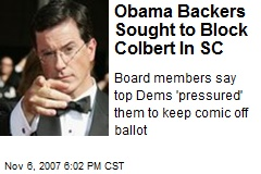 Obama Backers Sought to Block Colbert In SC