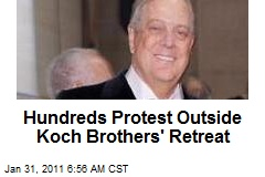 Hundreds Protest Outside Koch Brothers' Retreat